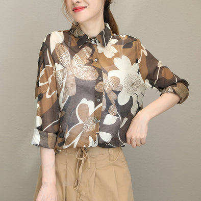 Office Lady Brown Print Shirt Transparent