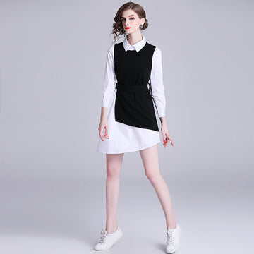 Office Lady Panelled Irregular Dress And Vest
