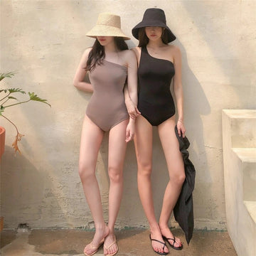 One-shoulder Pure Color One Piece Swimsuit