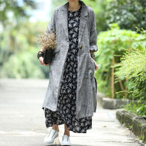 One Button Long Large Pockets Women Linen Blazer