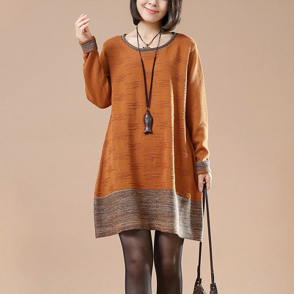 Orange  Long sleeve Round Neck Sweater
