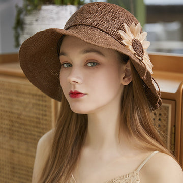 Outdoor Handmade Silk Flower Straw Bucket Hat