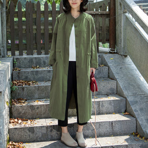 Oversize Green Long Casual Straight Drawstring Trench Coat