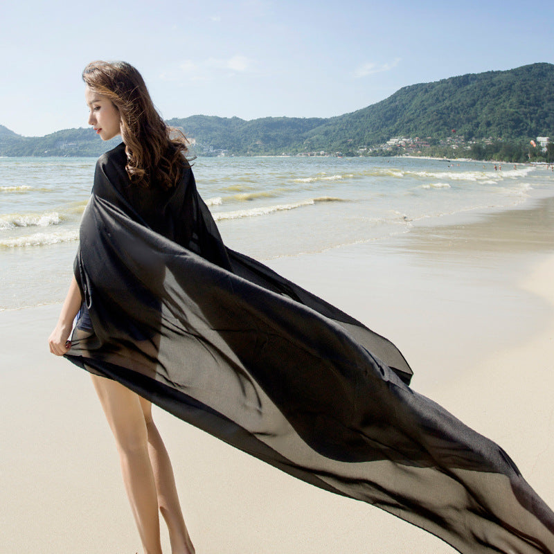 Oversized Solid Color Thin Beach Sunscreen Shawl
