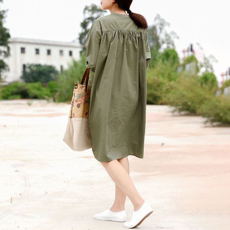 Owl Embroidery Green Long Sleeve Dress