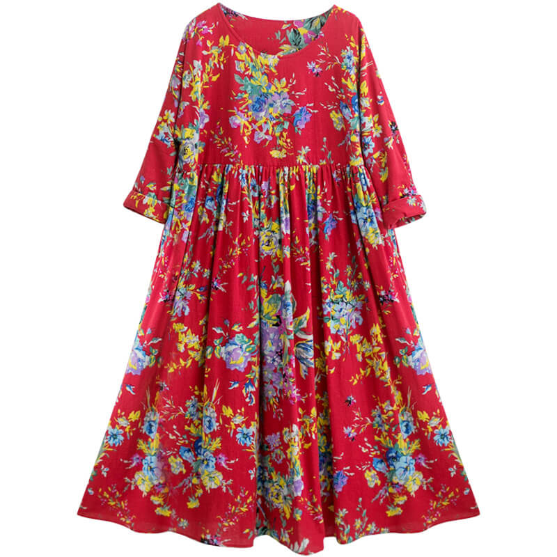 Plus Size -100% Cotton Retro Draped Floral Print Dress