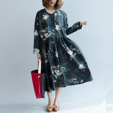 PLUS Size -100% Cotton Women Floral Casual Loose Draped Dress