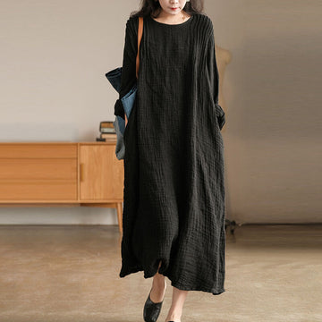 PLUS Size-100% Linen Women Pleated Long Dress