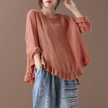 Plus Size - Agaric Lace Spliced Back Button Casual Blouse