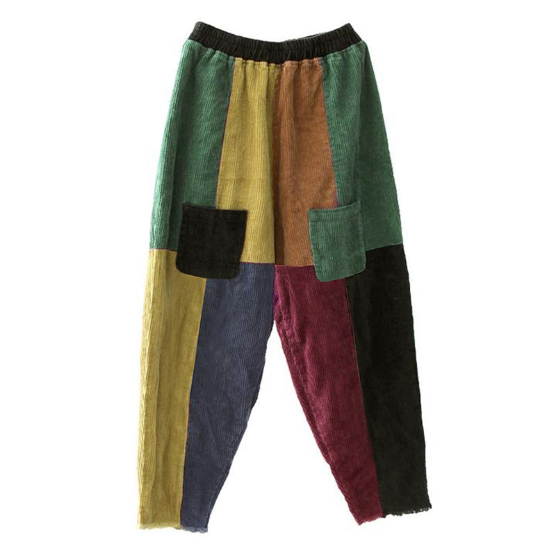 PLUS Size - Casual Corduroy Colorful Stitching Harem Pants