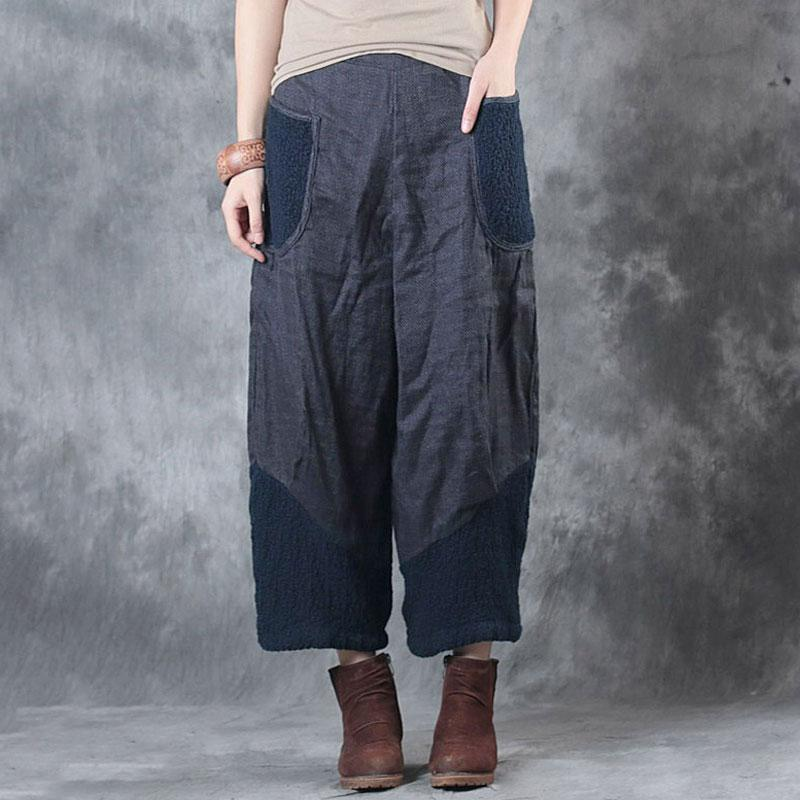 Plus Size - Casual Splicing Women Loose Spring Autumn Pants