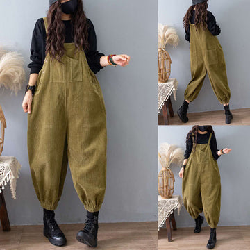 PLUS Size - Corduroy Pure Color Loose Jumpsuits