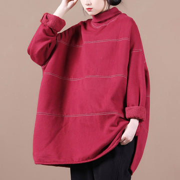 PLUS Size - Loose Thicken Turtleneck Sweatshirt