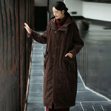 Pure Color Hooded Pocket Overcoat