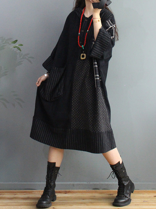 Plus Size - Retro Plaid Big Pocket Hooded Dress