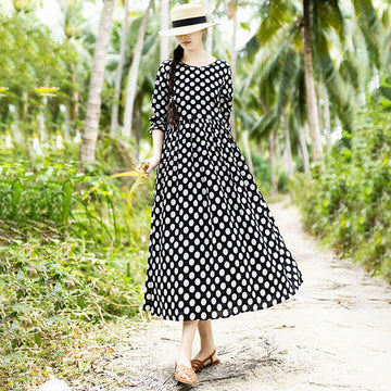 PLUS Size-Spring Women Pleated Long Dots Dress