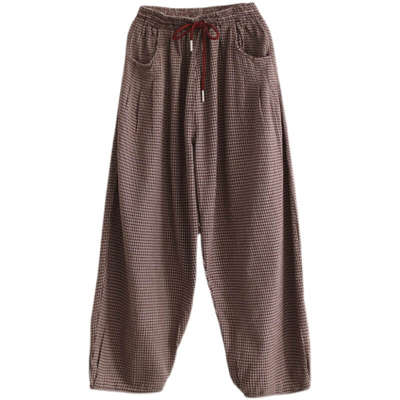 PLUS Size - Summer Spring Plaid Drawstring Harem Pants