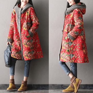 PLUS Size - Winter Floral Hooded Warm Coat