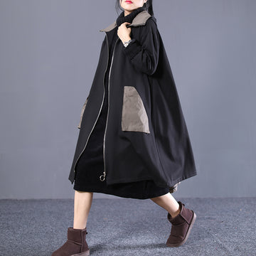PLUS Size - Winter Loose Patchwork Zipper Coat