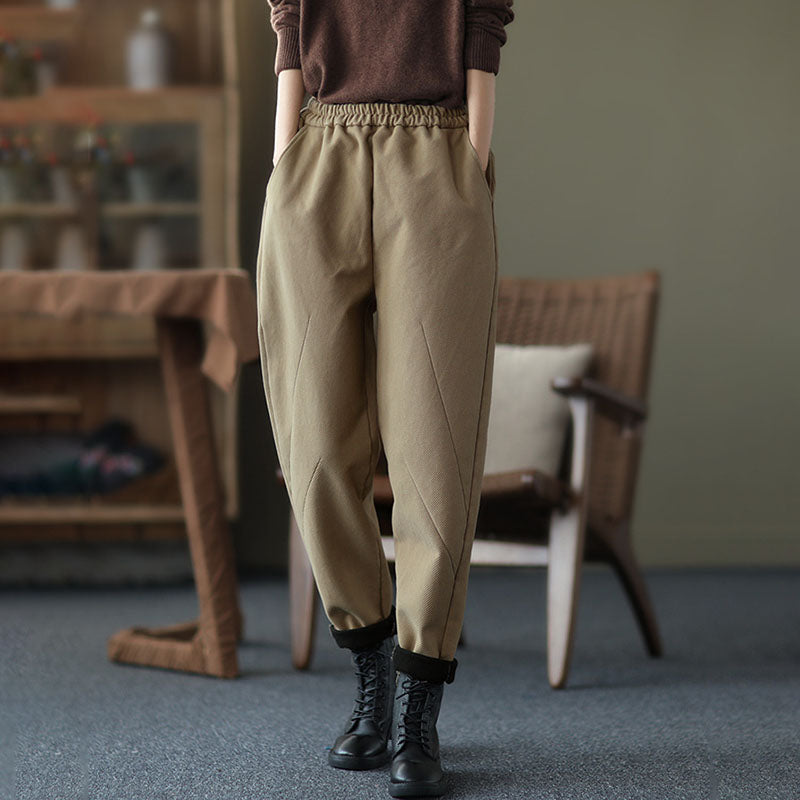 PLUS Size - Winter Thick Elastic Waist Pure Color Pants