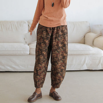 Plus Size - Winter Warm Floral Pocket Pants