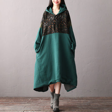 PLUS Size - Winter Women Loose Stitching Hooded Dress