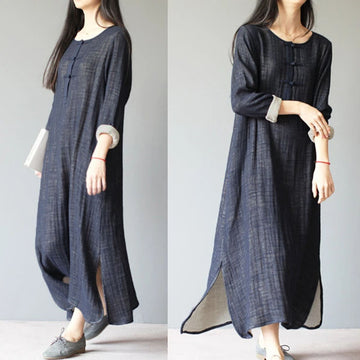PLUS Size - Women 100% Cotton Loose Vintage Long Dress