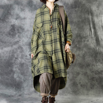 Plus Size - Women Autumn Casual Pocket Plaid Coat