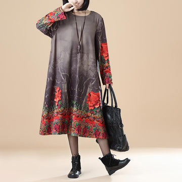 Plus Size - Women Autumn Floral Print Loose Dress