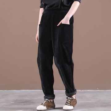 Women Corduroy Thicken Warm Pants