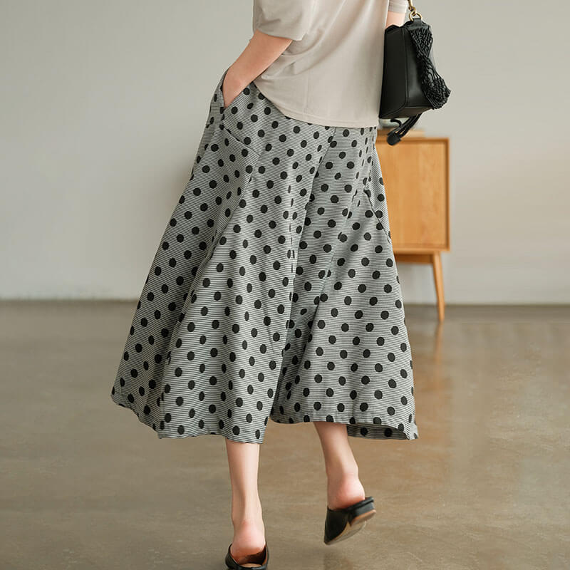 PLUS Size - Women Dots Casual Wide Leg Pants