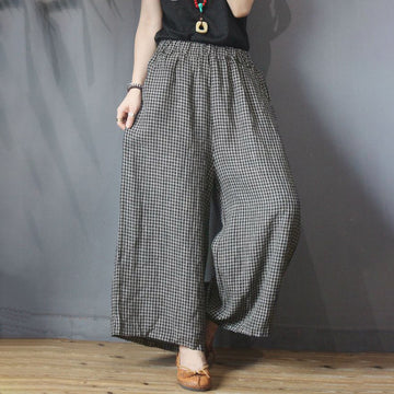 PLUS Size -Women Plaid Elastic Waist Loose Wide Leg Pants