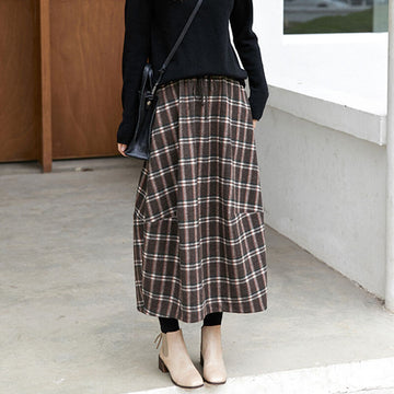 Women Plaid Elastic Waist Skirt