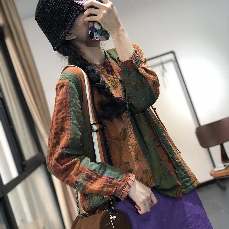 Plus Size - Women Retro Loose Print Cotton Shirt