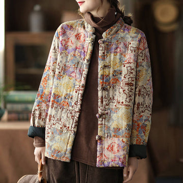 PLUS Size - Women Retro Thick Warm Print Cotton Coat