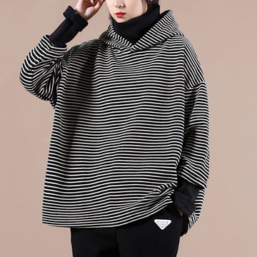 PLUS Size - Women Striped Stitching Hoodie