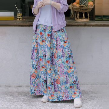PLUS Size-Women Summer Floral Wide Leg Pants