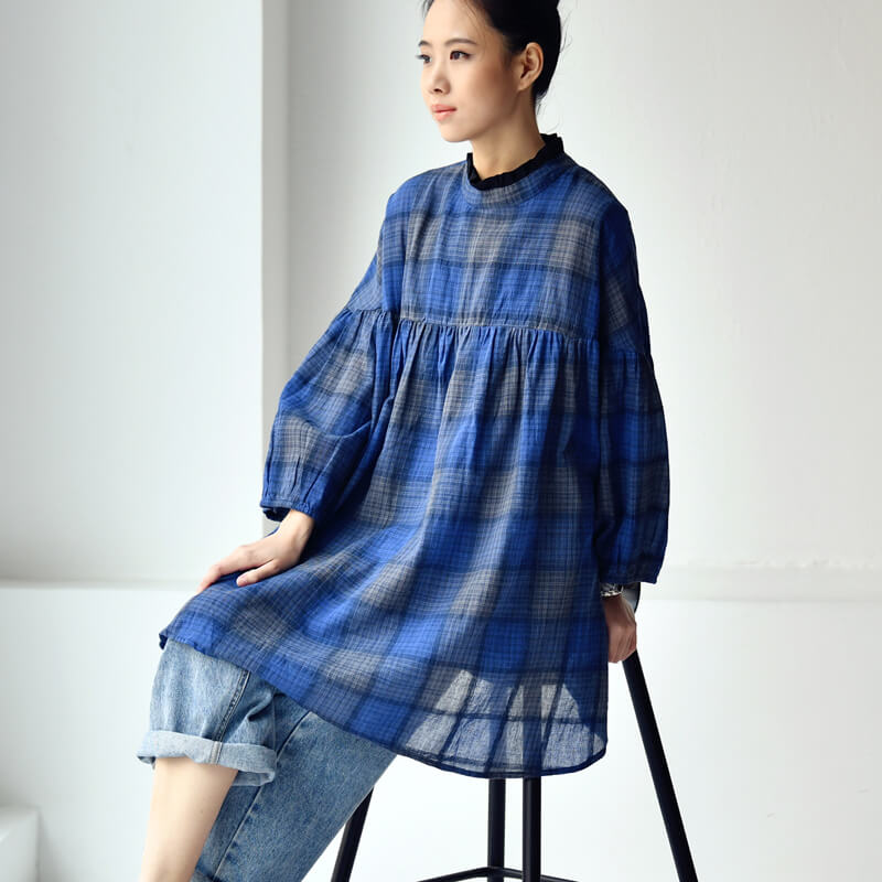 PLUS Size - Women Summer Plaid Pleated Shirt