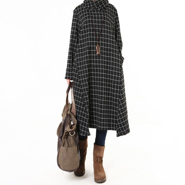 Plus Size - Women Winter Fashion Plaid Dress