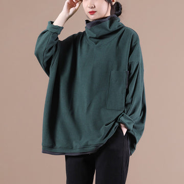 PLUS Size - Women Winter Stitching Pocket Sweatshirt