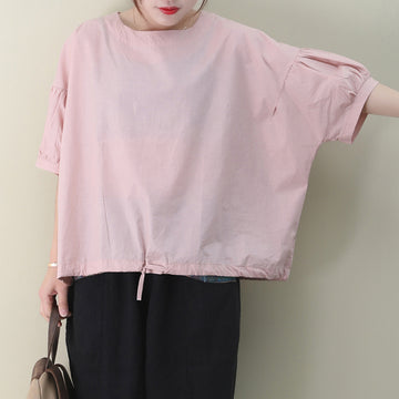 PLeated Sleeve Hem Drawstring Pure Color Cotton T-shirt