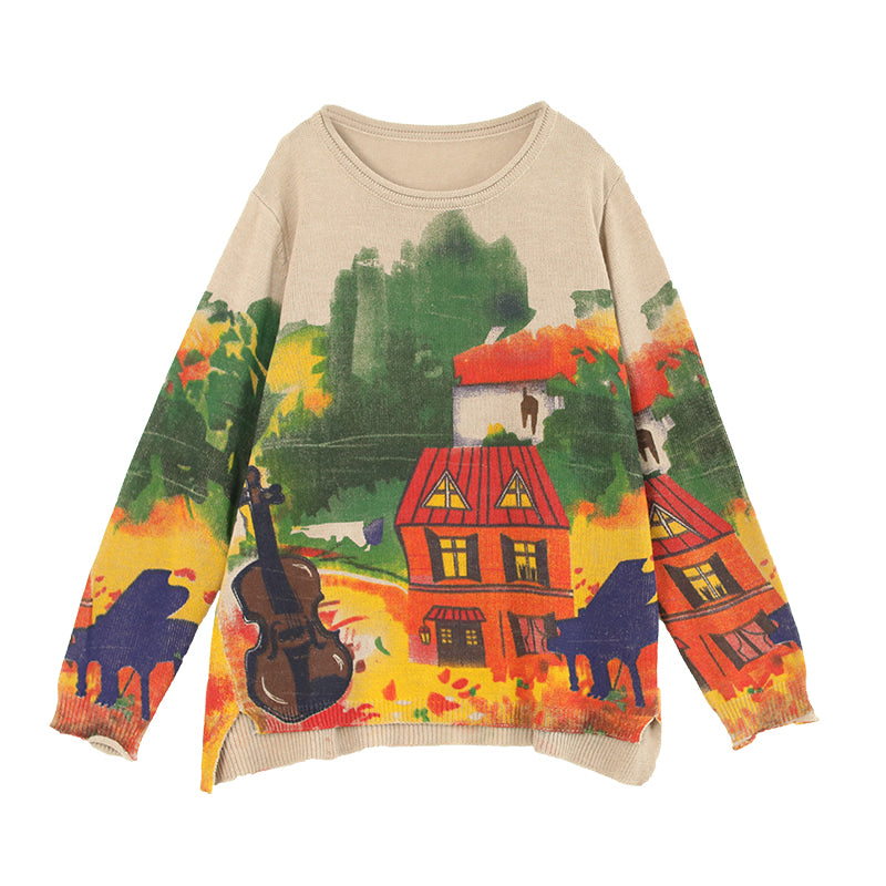 Painted House Print Casual Knitted Shirt