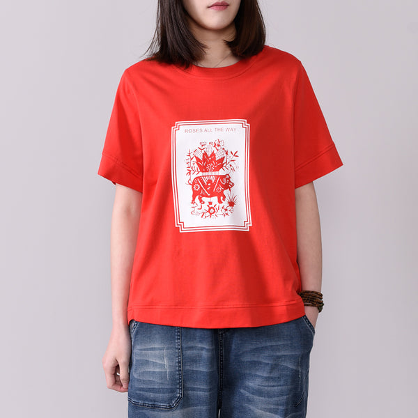 Paper Cutting Printed Summer Loose T-Shirt