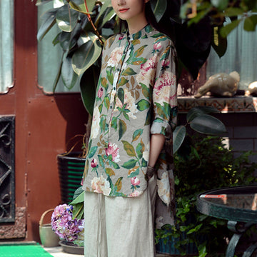 PLUS Size - Pastoral Flower Print Loose Slit Autumn Shirt