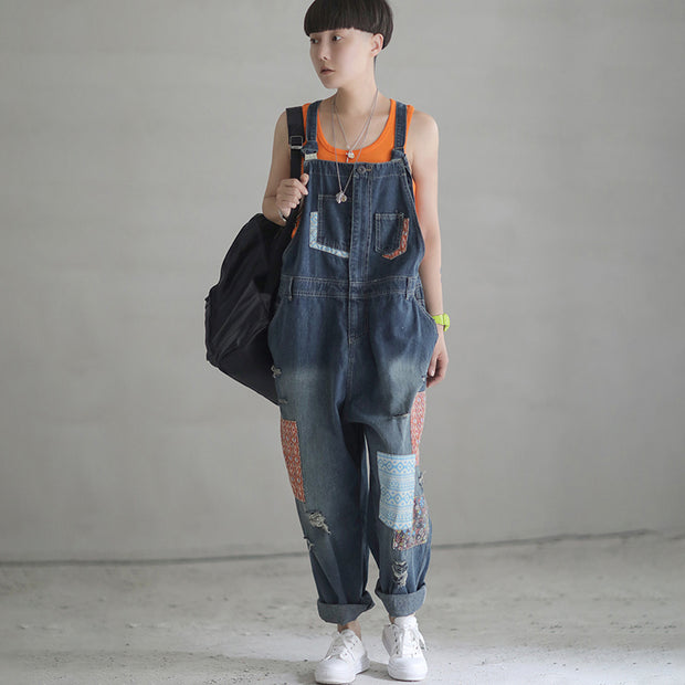 Patch Designs Distressed Denim Women Overalls