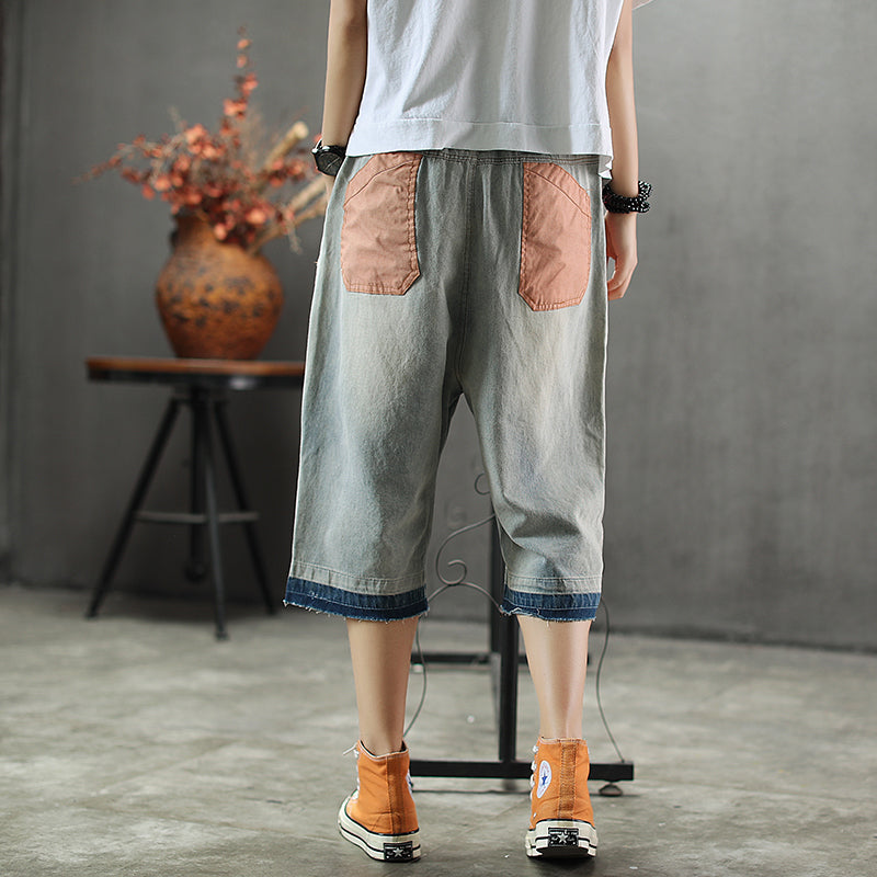 Patch Designs Embroidery Vintage Loose Harem Jeans