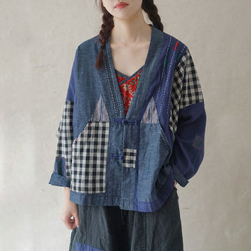 Patchwork Color Contrast Loose Embroidered Top
