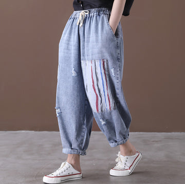 Patchwork Distressed Adjustable Waist Pants