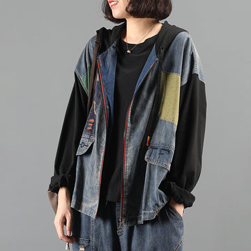 Patchwork Drawstring Zipper Hooded Coat