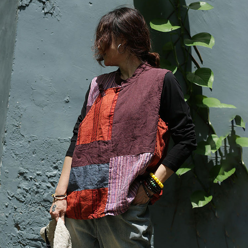 Patchwork Stitching Lacing Sleeveless Linen Coat
